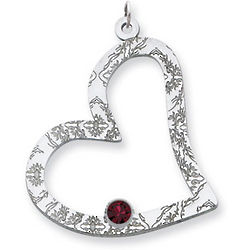 Sterling Silver Floral Heart Family Pendant With One Stone