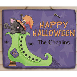 Personalized Happy Halloween Slate Plaque