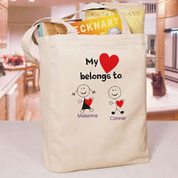 Personalized My Heart Belongs Tote Bag