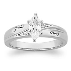 Platinum Plated Sterling Silver Cubic Zirconia Wedding Ring