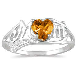 Citrine Heart Mom Ring with Diamond Accents in 10K White Gold