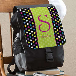 Personalized Girl's Polka Dot Backpack