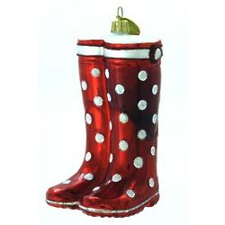 Proper Red Wellies Blown Glass Christmas Ornament