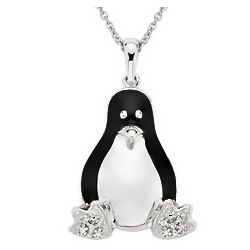 Sterling Silver and Black Enamel Diamond Penguin Necklace