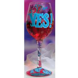 Yes Hand Painted Wine Glass