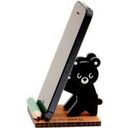 Black Bear Wooden Phone Stand
