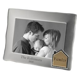 Personalized Satin Silver House Picture Frame