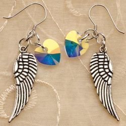 Angel Wing and Heart Earrings
