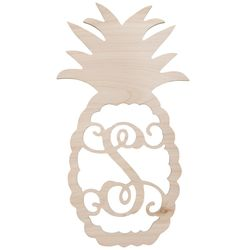 """22"""" Pineapple with Single Initial Birch Wood Decor"""