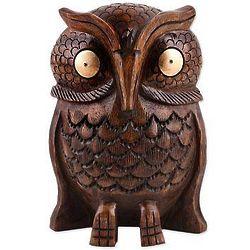 Owl Storyteller Wood Statuette