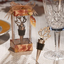 Autumn Leaf Wine Stopper Favor