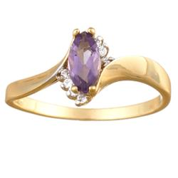 Amethyst Marquise & CZ Ring