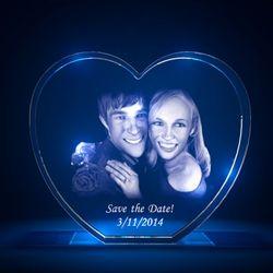 3D Laser Heart Crystal
