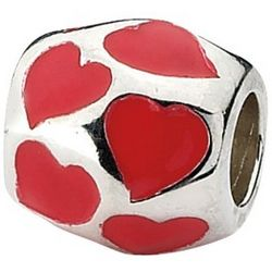 Sterling Silver Red Enameled Hearts Charm