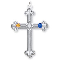 Sterling Silver Fleur De Lis Cross with Two Birthstones