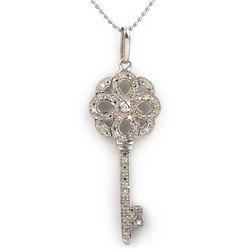 Sterling Silver Diamond Celtic Key Pendant