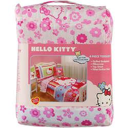 Toddler's Hello Kitty Flower Garden 4-Piece Bed Set