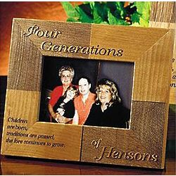 Personalized Oak Four Generations Children are Born Frame