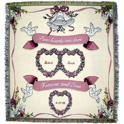 Personalized Heart to Heart Tapestry Wedding Throw