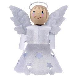 Glittered Star Angel Christmas Ornament