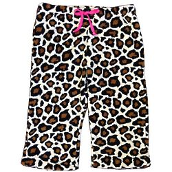 Leopard Printed Girl's Plush Pajama Pants