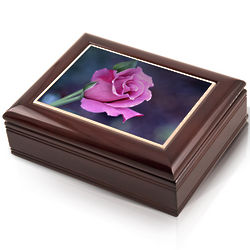 Single Stemmed Lavender Rose Musical Jewelry Box