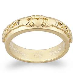 Engraved Claddagh Wedding Band