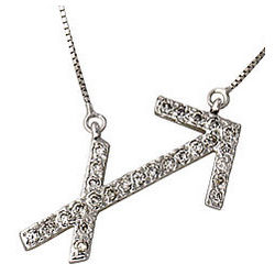 Diamond Sagitarius Zodiac Pendant in 14K White Gold