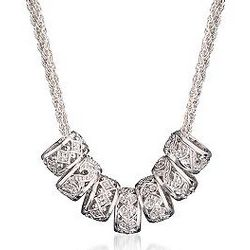 "20"" Diamond Barrel Bead Necklace in Sterling Silver"