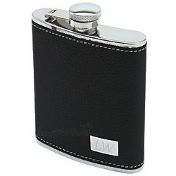 Palermo Leather Hip Flask with Engravable Plate