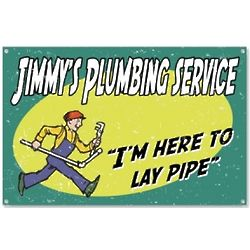 Personalized Vintage Plumber Service Lay Pipe Sign