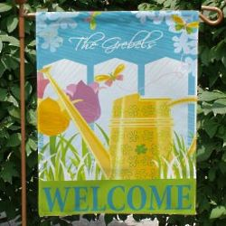 Personalized Watering Can Garden Flag