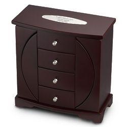 Mahogany Finish Oval Cut-Out Jewelry Box