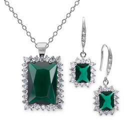 18 Carat Simulated Emerald Earring and Pendant Set