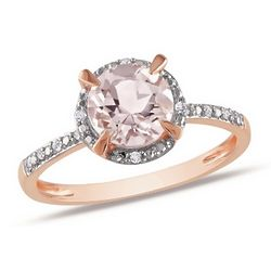 Morganite and Diamond 10k Pink Gold Ring