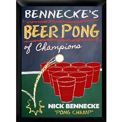 Personalized Beer Pong Champion Traditional Bar and Pub Sign