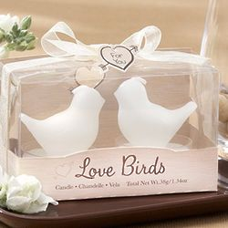 White Love Birds Tea Light Candle Favors
