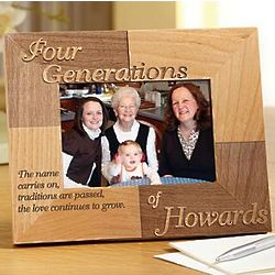 Personalized Oak Four Generations Name Carries On Frame