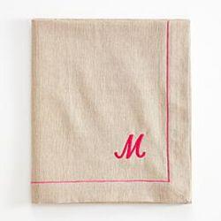Hot Pink-Script Personalized Linen Throw Blanket