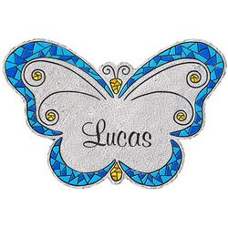 Personalized Small Blue Mosaic Butterfly Stepping Stone