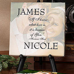 Personalized Because Of You Photo Canvas Art