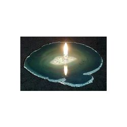 Agate Gemstone Rock Candle in Teal Green