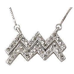 Diamond Aquarius Zodiac Pendant in 14K White Gold