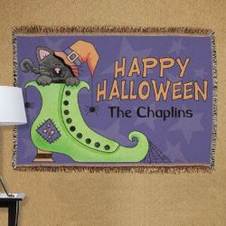 Personalized Cat in a Boot Halloween Tapestry Blanket