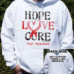 Hope, Love, Cure AIDS Awareness Hooded Sweatshirt