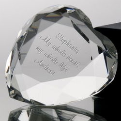 Personalized Heart-Shaped Crystal Paperweight