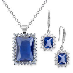 18 Carat Simulated Tanzanite Earring and Pendant Set
