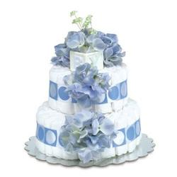 Two Tier Blue Hydrangea Diaper Cake