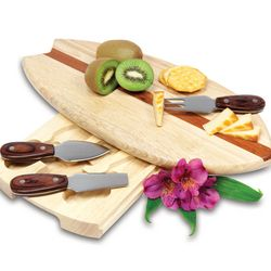 Surfboard Cutting Board and Cheese Tools Set
