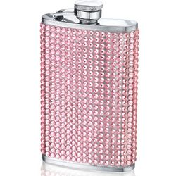 Bedazzled Tall Pink Crystal Hip Flask